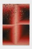 Julian Hoeber<br /> <i>Execution Changes #89B (CS, Q1, LLJ, DC, Q2, RMJ, DC, Q3, URJ, DC, Q4, LMJ, DC)</i>, 2014<br /> Acrylic on linen<br /> 42 x 28 x 2 inches<br /> 106.7 x 71.1 x 5.1 cm
