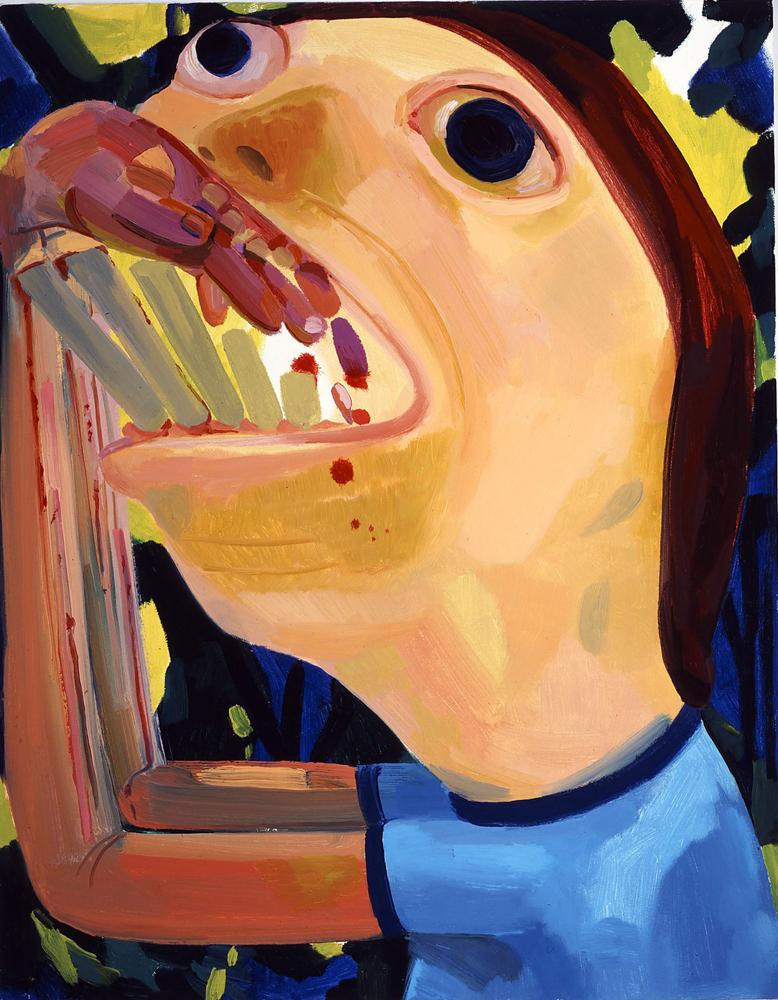 Dana schutz devourer 2004 oil on canvas 28 x 22 inches 71 1 x 55 9